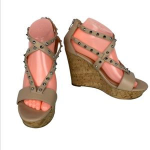 Marc Fisher Lorda Studded Spike Cork Wedge Sandals